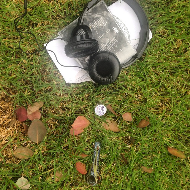 Saw this lying in the grass abandoned today. Pipe... Papers... Headphones... And an Abba CD.