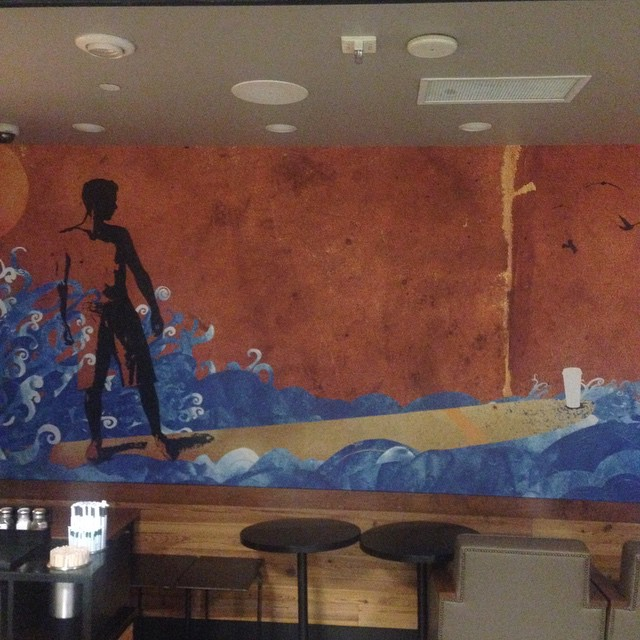 This is the art at the Starbucks @LAX. Subtly bridging surfing and hot coffee..